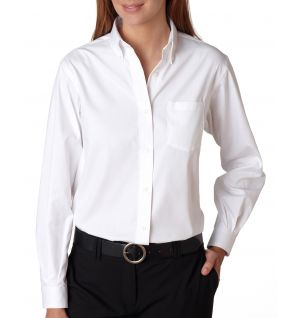 Ladies Long-Sleeve Blended Pinpoint